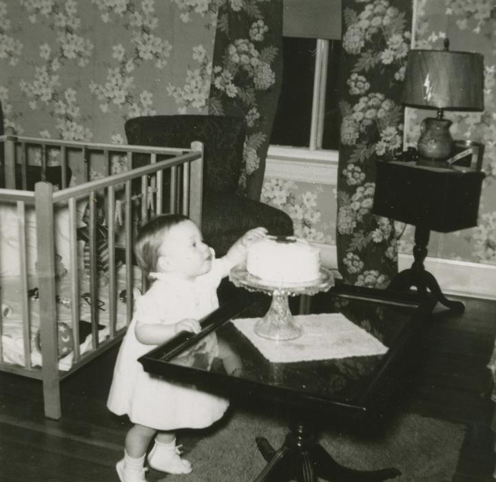 baby, cake, chair, crib, curtains, lamp, wallpaper